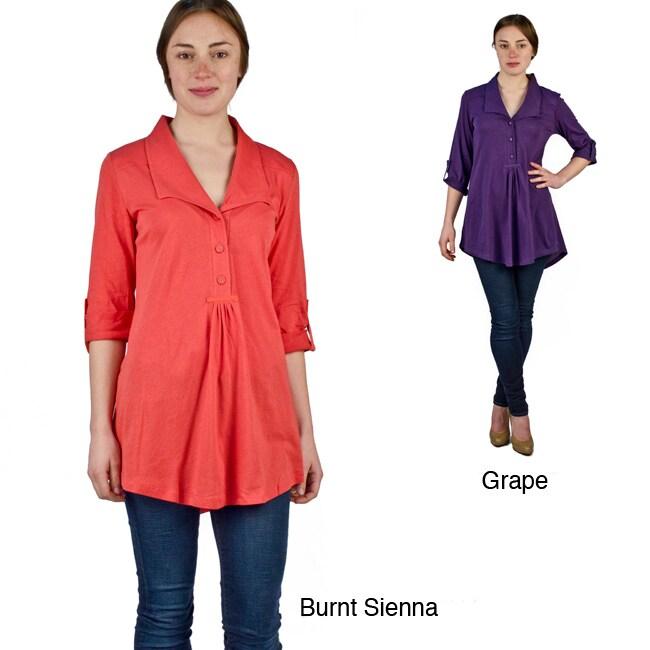AtoZ Women's Basic Ruched Shirt