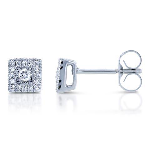 Annello by Kobelli 10k White Gold 1/6ct TDW Square Multi Stone Illusion Diamond Stud Earrings