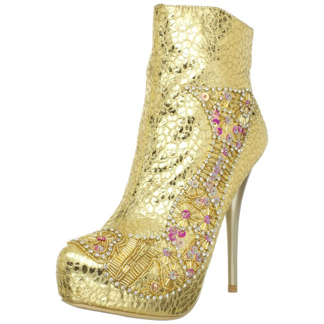 Celeste Women's 'Succi-03' Gold Embellished Booties