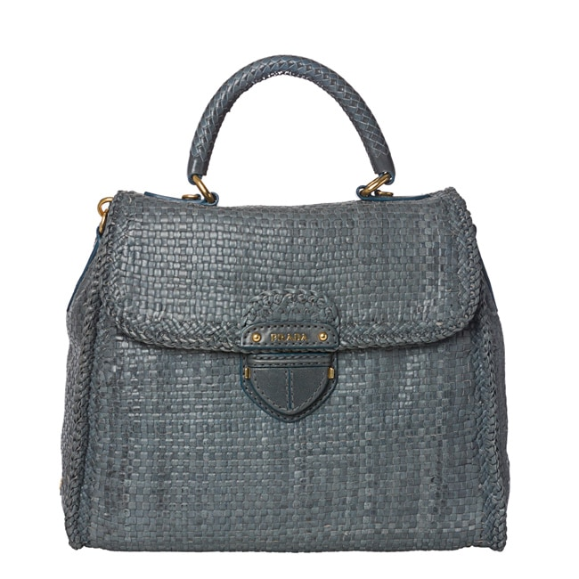 Prada Hand-woven Braided Blue Suede Madras Flap-over Satchel Bag - Thumbnail 0