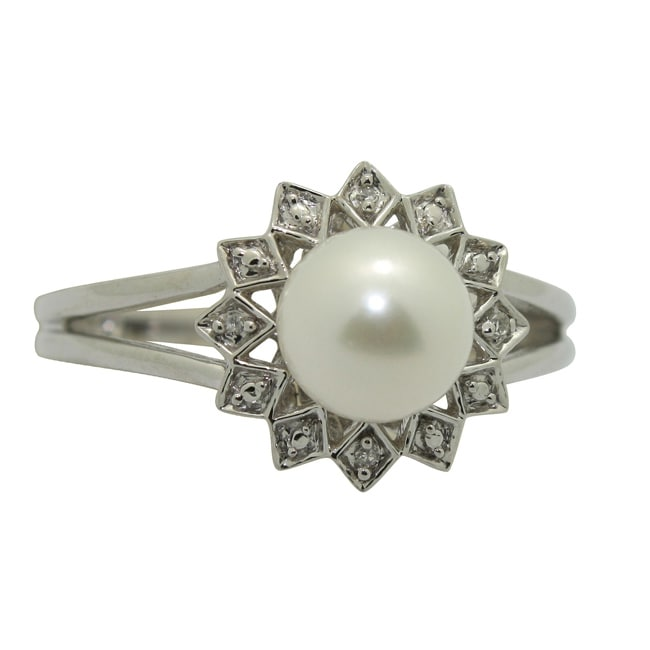 Gioelli Sterling Diamond and Fresh Water Pearl Silver Ring (I1-I2, IJ)