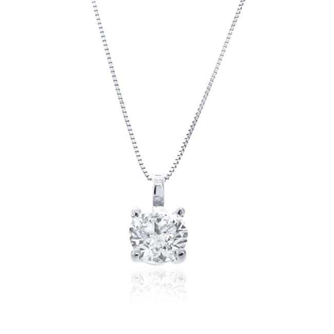 14k White Gold 1/3 to 1 1/2ct TDW Diamond Solitaire Necklace (G-H, I1-I2)
