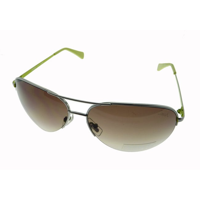 Coach Women's Aviator Silver and Green Frame Sunglasses