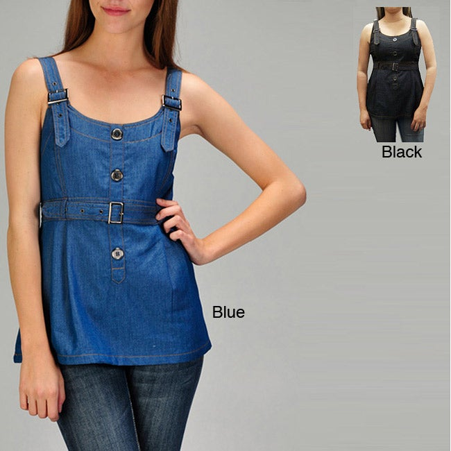 Ruby Rose Women's Fitted Denim Tank Top