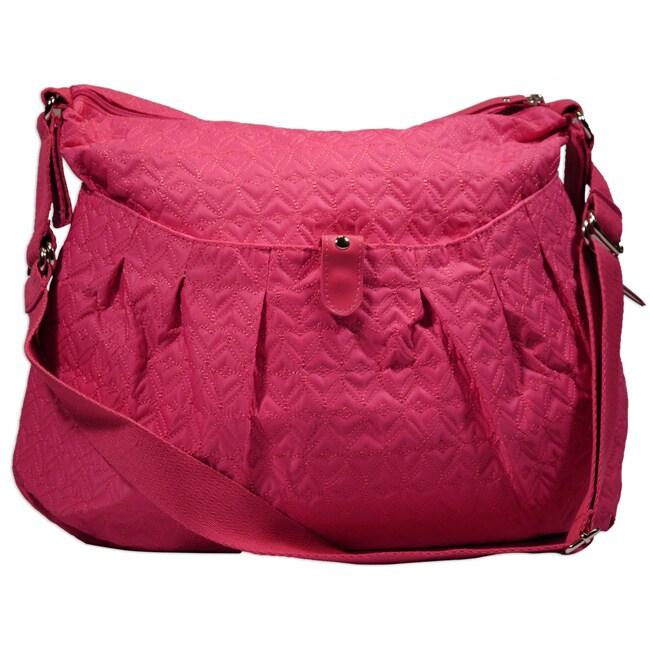 Hugamonkey Hot Pink Quilted Diaper Bag