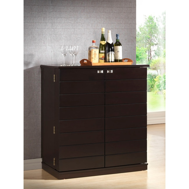Modern Home Bar Cabinet: Shop Traditional Dark Brown Wood Wine Cabinet By Baxton