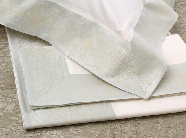 Frette 600 Thread Count Blue/Ivory Ragusa Ornato Sheet Set