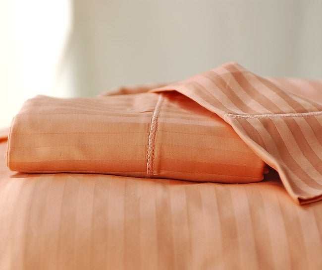 Sateen 600 Thread Count Woven Stripe Coral Cal King Sheet Set