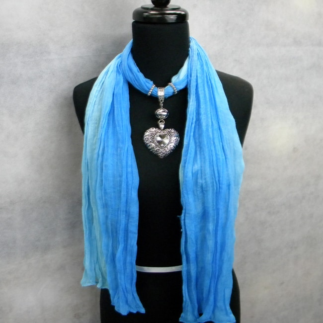 Fashion Jewelry Scarf Two Toned Blue with Silver and Crystal Heart