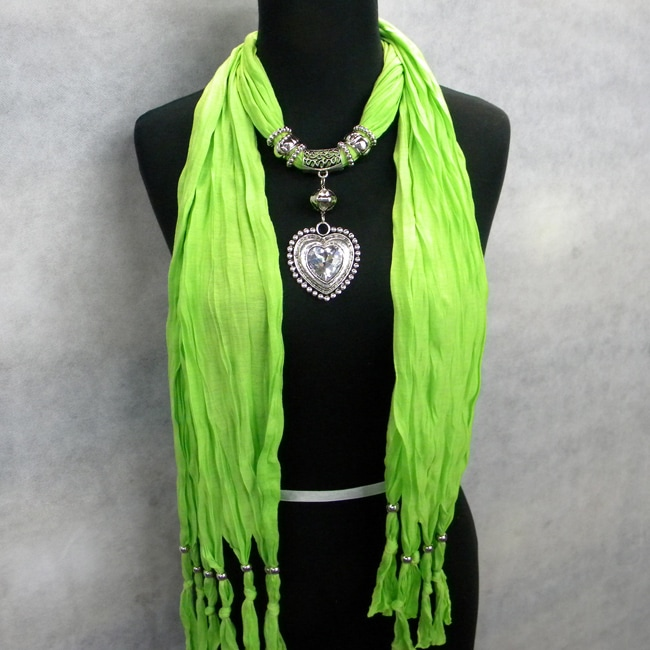 Fashion Jewelry Scarf Pea Green with Silver and Crystal Heart Pendant