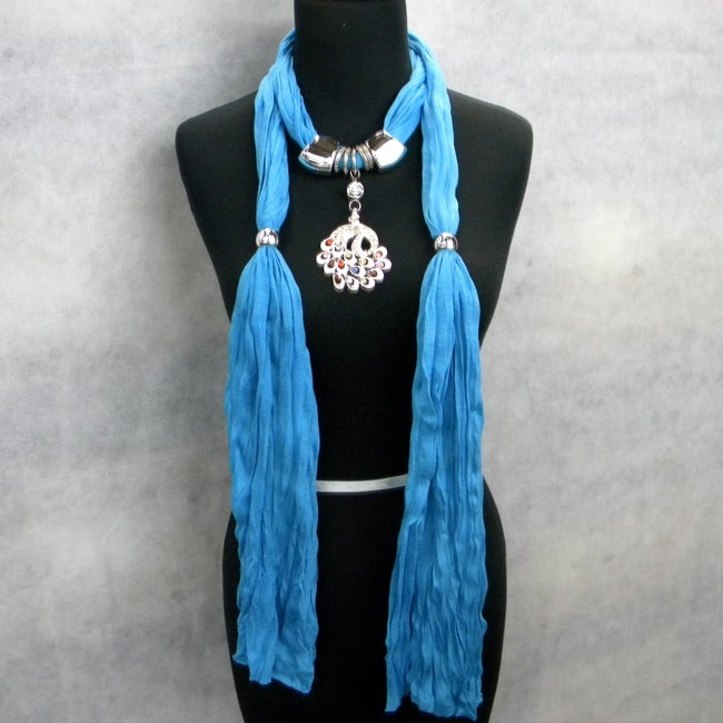 Fashion Jewelry Scarf Turquoise Blue with Multicolor Peacock Pendant