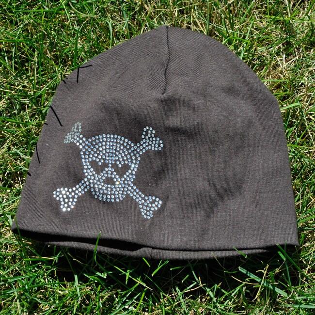 Bellarisa Designs Brown Cotton Rhinestone Skull and Cross Bone Beanie