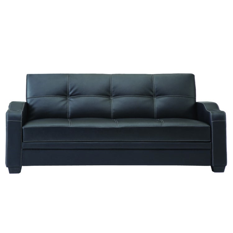 Black 3-seater Faux Leather Sofa Bed