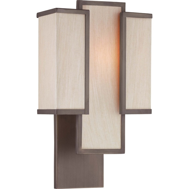 Labyrinth 1 Light Henna Bronze with Khaki Fabric Shades Wall Sconce