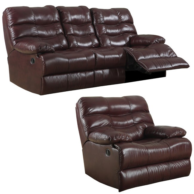 Cameron Burgundy Italian Leather Reclining Sofa And Recliner Glider Free Shipping Today