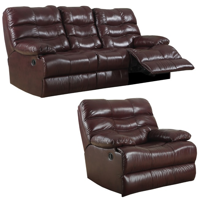Cameron Burgundy Italian Leather Reclining Sofa and Recliner/Glider