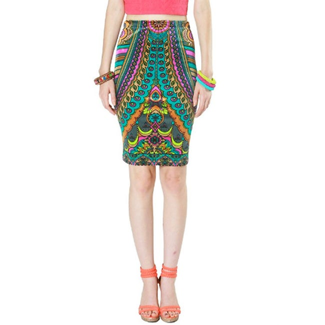 Tabeez Women's Multicolored Velvet Print Pencil Skirt