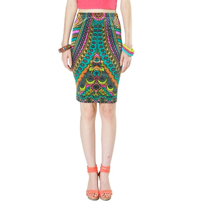 Tabeez Women's Multicolored Velvet Print Pencil Skirt - Thumbnail 0