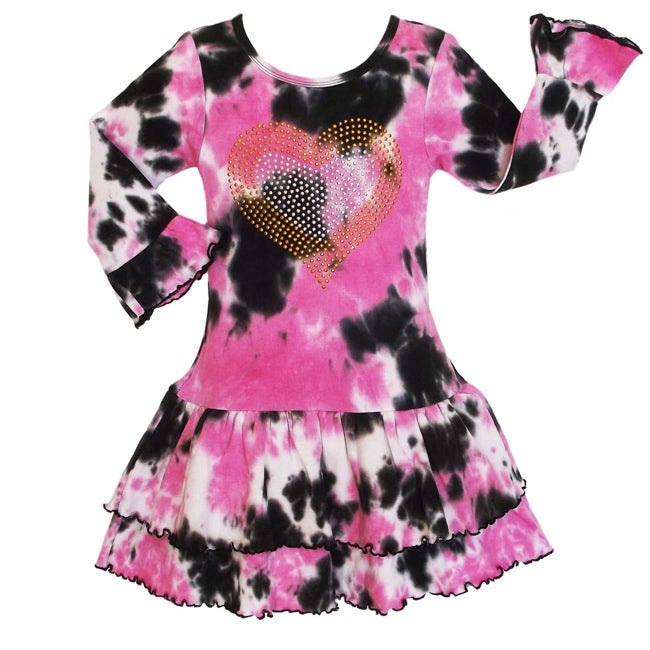 AnnLoren Girls' Pink/ Black Tie-dye Rumba Dress