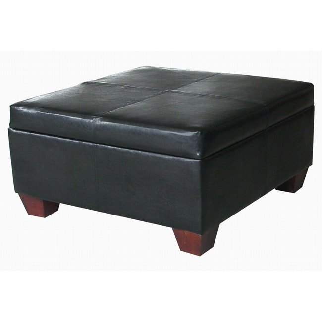 Black Leather Square Storage Bench Ottoman Coffee Table Free Shipping Today