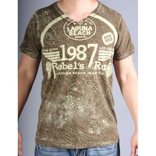 Laguna Beach Jean Co Men's Corona Del Mar Beach Olive 2012 Graphic Tees - Semi V-Neck