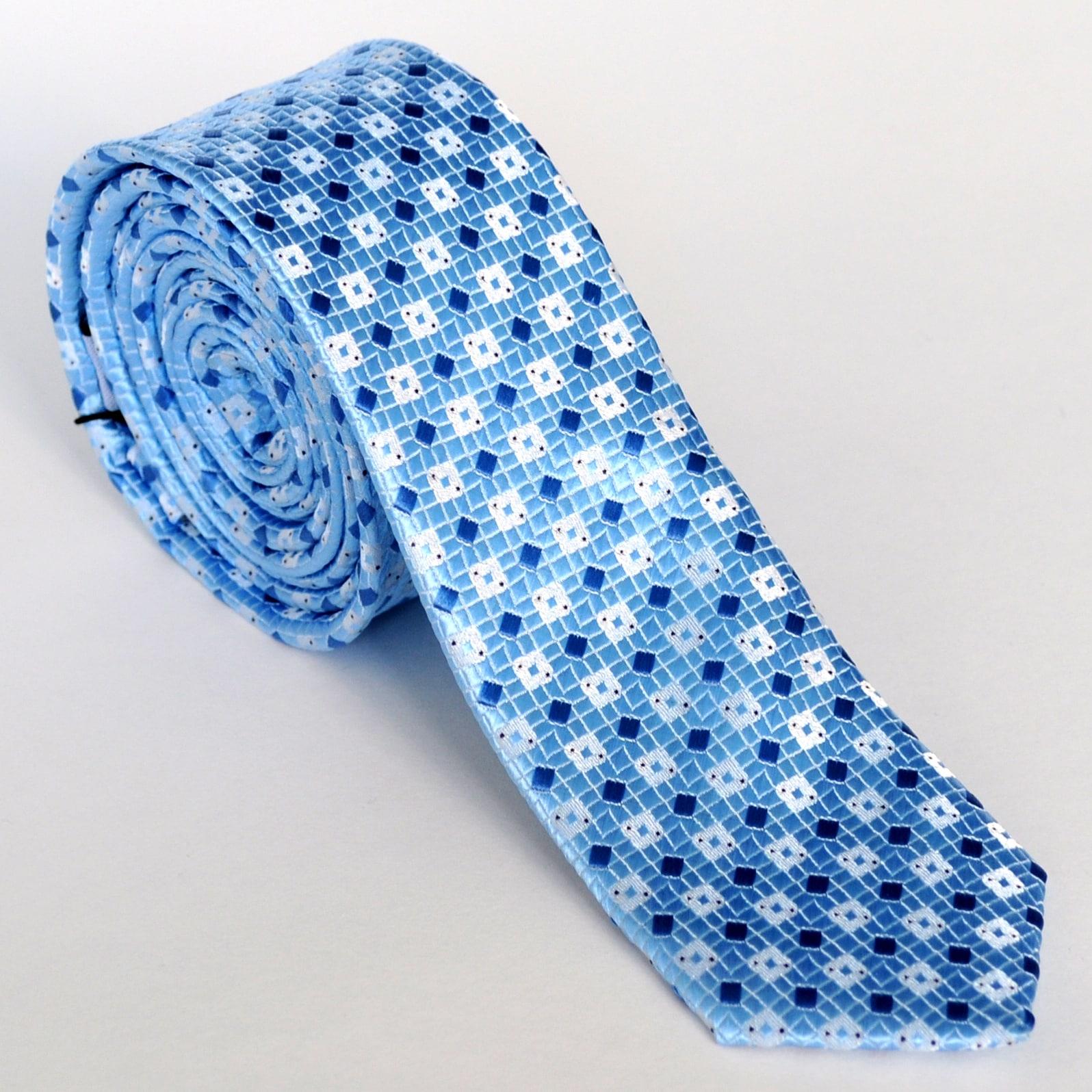 Skinny Tie Madness Men's Blue Diamond Skinny Tie
