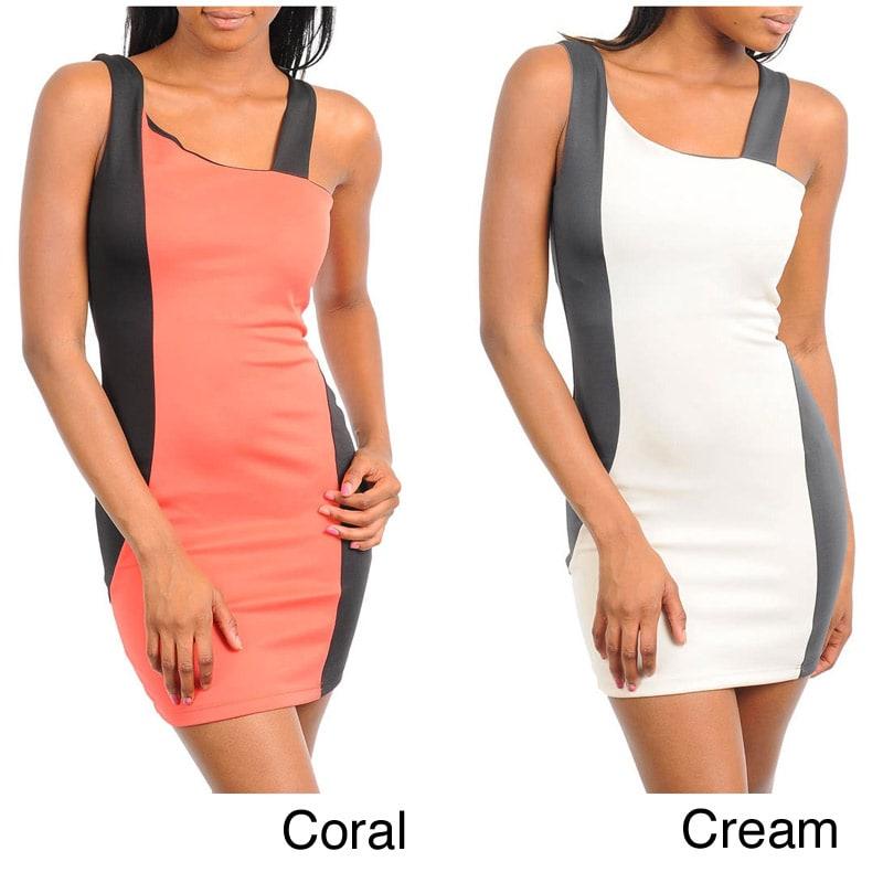 Stanzino Women's Plus Asymmetric Neckline Panel Dress