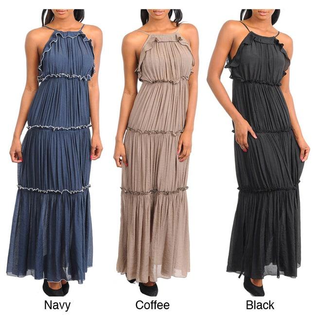 Stanzino Women's Halter Tiered Maxi Dress
