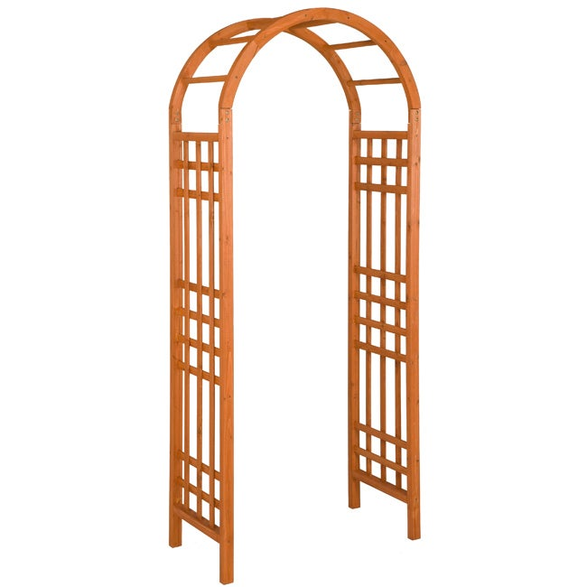 Jennings Stained Tan Finish Round Arbor with Square Lattice