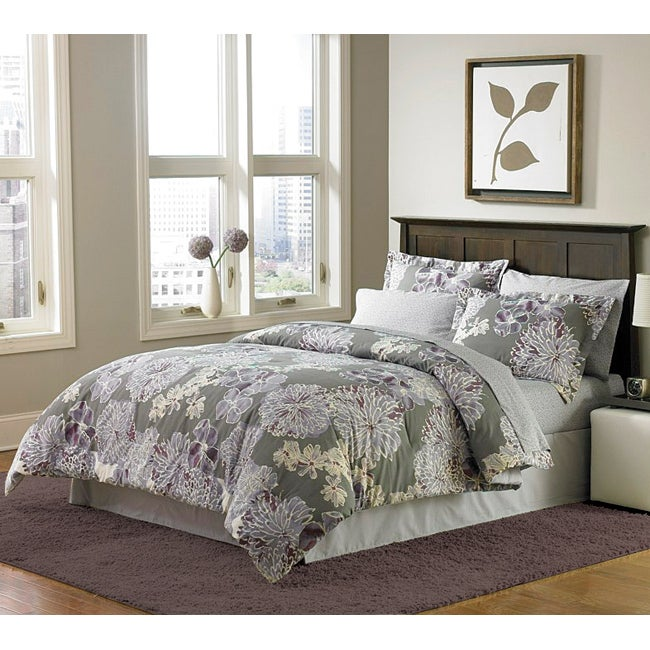 Contemporary Printed Violet Blossoms Bed in a Bag with Sheet Set - Thumbnail 0