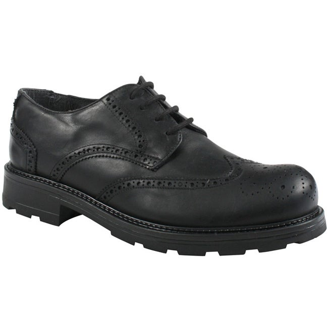 GBX Men's Black Leather Wingtip Oxfords - Thumbnail 0
