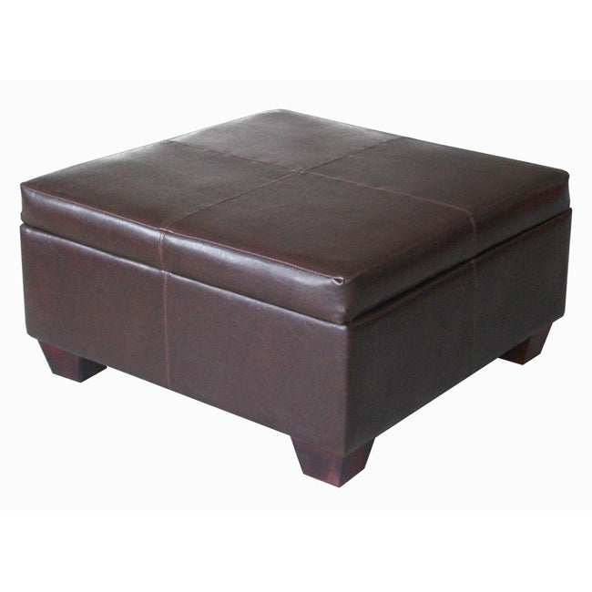 Espresso synthetic leather square storage bench ottoman coffee table free shipping today Square leather coffee table