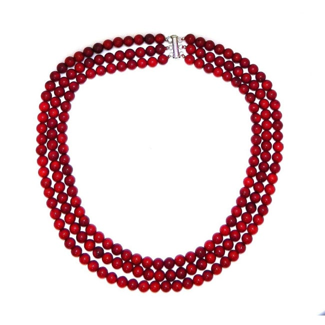 Pearlz Ocean Sterling Silver Red Coral 3-row Necklace