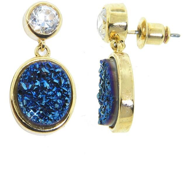 Eternally Haute Gold over Silver Blue Druzy and White Topaz Earrings