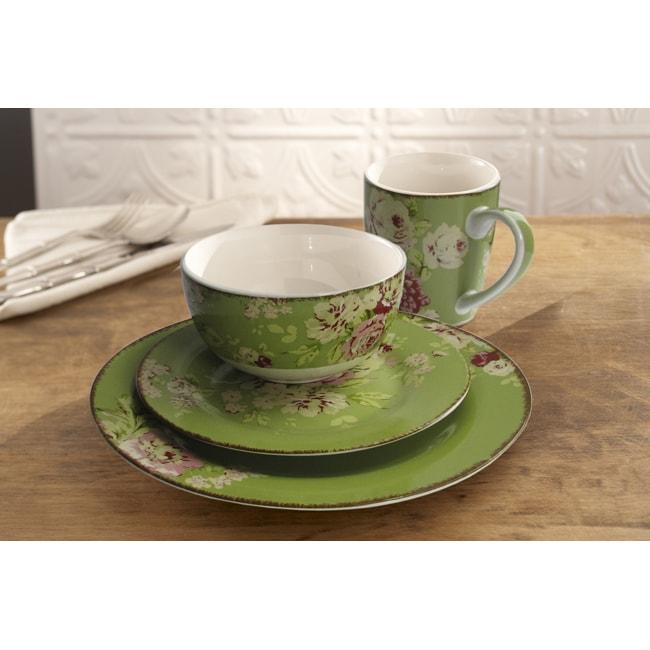 Waverly Tea Dance Celery 16-piece Dinnerware Set