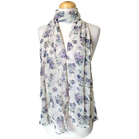 Purple Floral Print Fashion Scarf