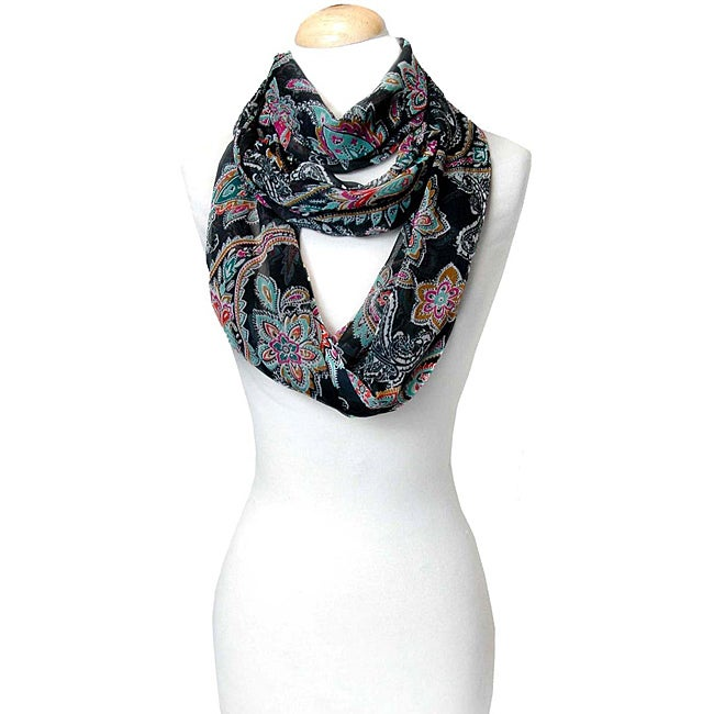 Black Multi-Color Paisley Infinity Scarf