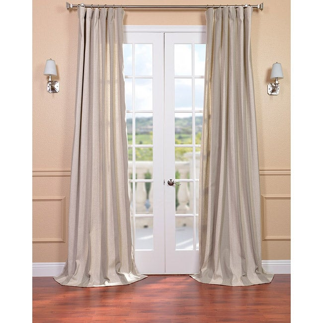 Exclusive Fabrics Veranda Khaki Stripe Linen Blend Curtain Panel