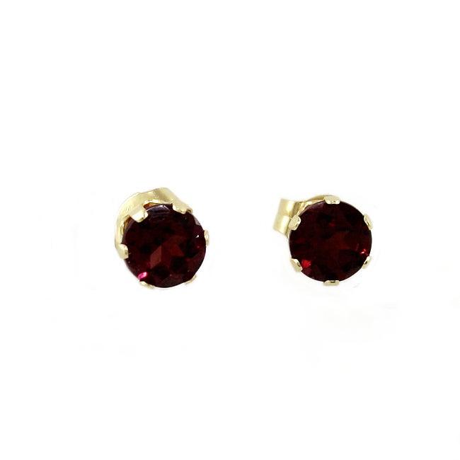 Beverly Hills Charm 14k Yellow Gold Rhodolite Garnet 3-6 mm Stud Earrings