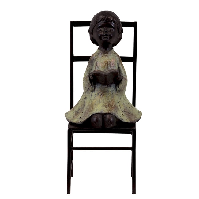 Urban Trend Resin Little Girl on The Chair Copper Large Sculpture