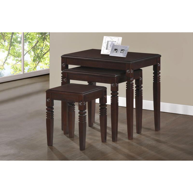 Cappuccino Solid Wood 3 Piece Nesting Table Set