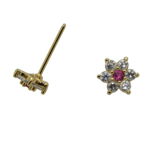 Gioelli Gold over Silver Children's Red and White Cubic Zirconia Flower Earrings