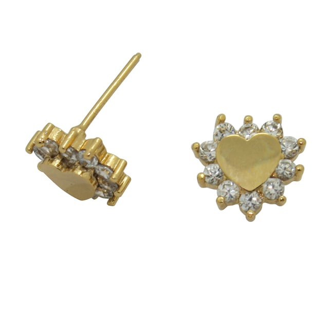 Gioelli Gold over Silver Children's Clear Cubic Zirconia Heart Earrings