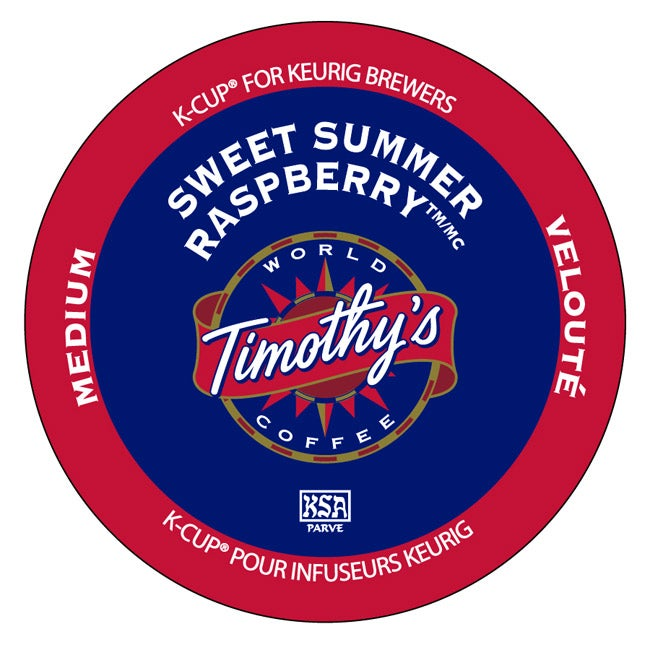 Timothy's World Coffee Sweet Summer Raspberry K-Cup for Keurig Brewers (Pack of 96)