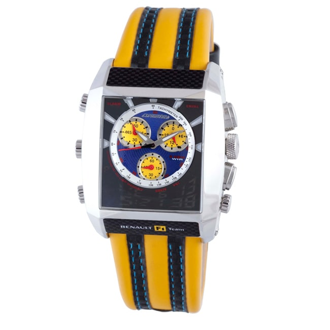 Chronotech Men's Blue Textured Dial Yellow and Black Leather Watch