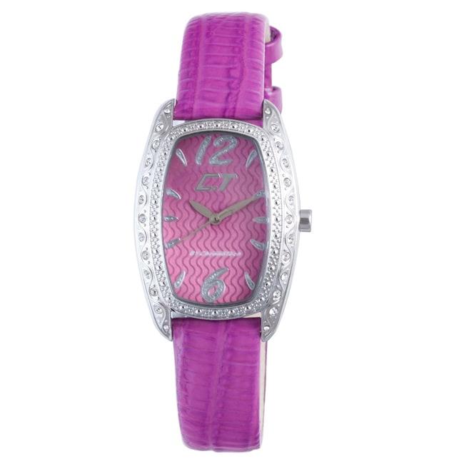 Chronotech Children's Purple Dial Crystal Bezel Leather Watch