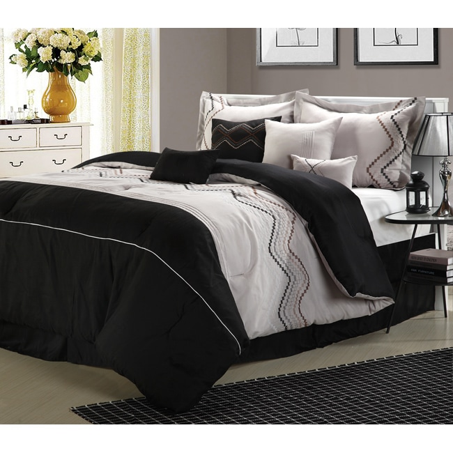 Horizon Grey/Black Embroidered 12-piece Bed in a Bag with Sheet Set