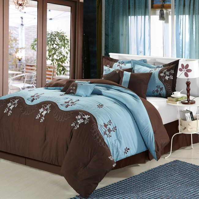 Rose Deco Chocolate And Blue 12 Piece Bed In A Bag With