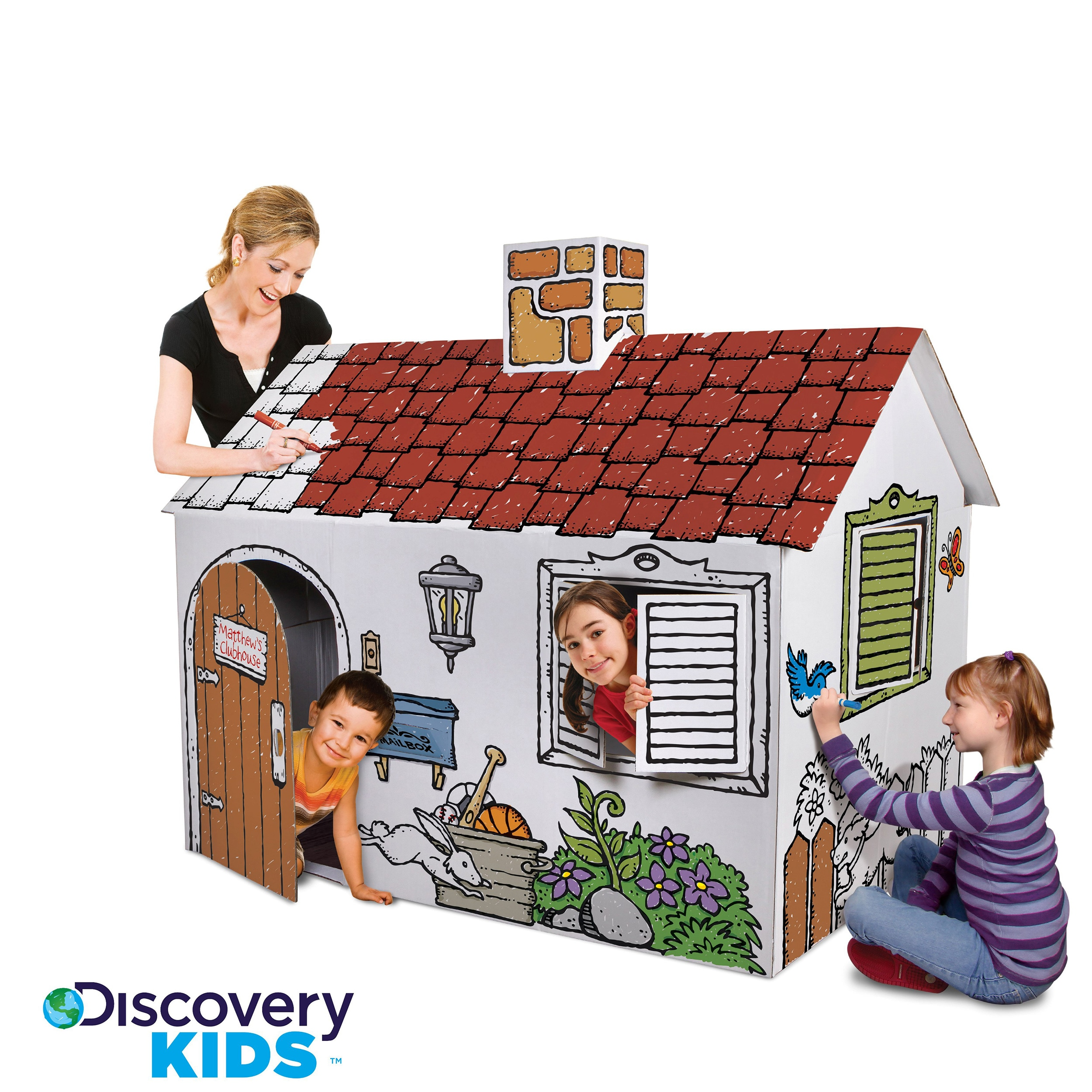 Discovery Kids Cardboard Color and Play Playhouse - Thumbnail 0