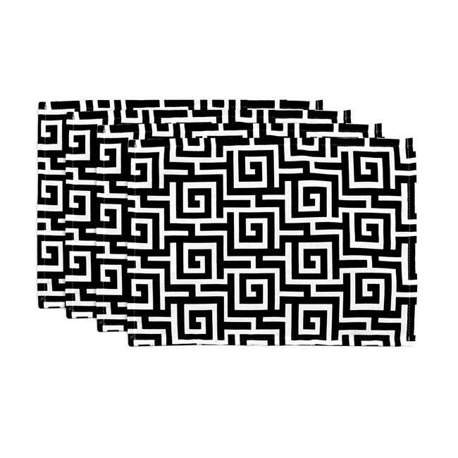 Oskar Terrace Black Geometric Placemats (Set of 4)